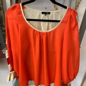 Orange/sheer with cream top